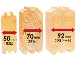 ミニログハウスの特長 その4 ログ壁の厚さが違う本物パイン材使用!