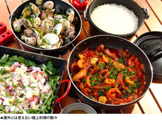 ログハウス,田中ケン,豪華なアウトドア料理の数々