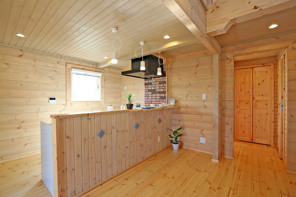 カントリースタイル北欧モダンログハウスの居