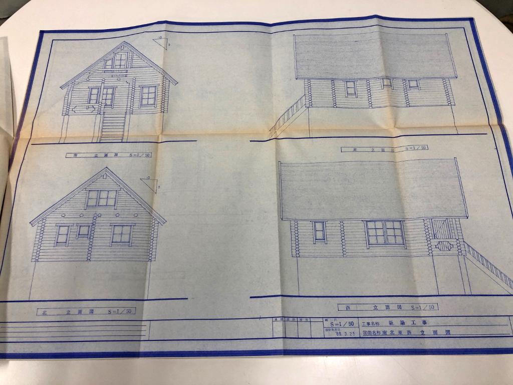 ログハウス,青図