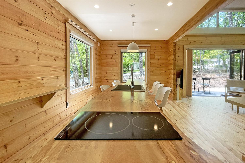 アートログハウス別荘屋内、一枚板キッチン